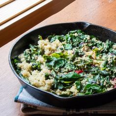 Lemony Swiss Chard and Quinoa Sauté. Dinner in under 30 minutes! Easy Swiss chard sautéed with lemon quinoa capers and olives. Lemon Recipes, Vegetable Recipes, Real Food Recipes, Cooking Recipes, Drink Recipes, Vegetarian Main Dishes, Vegetarian Recipes, Healthy Recipes, Vegan Meals