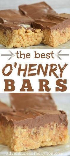 O'Henry bars or Scotcharoos are a delicious peanut butter treat. They're made up of chewy peanut butter crispies and topped with a layer of butterscotch chocolate. This recipe makes a LOT, so make them for your next pot luck or get-together. Köstliche Desserts, Best Dessert Recipes, Sweet Recipes, Cookie Recipes, Delicious Desserts, Candy Recipes, Hot Fudge, Ohenry Bars, Cake Bars