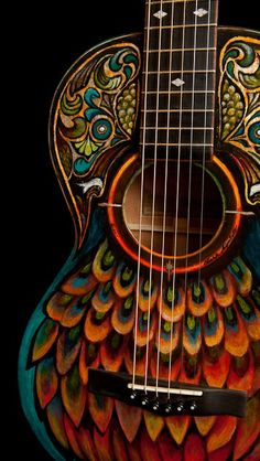 Handpainted Lichty Parlor Guitar, artwork by Clark Hipolito. Beautiful, I want to paint a guitar now! Guitar Painting, Guitar Art, Cool Guitar, Gypsy Guitar, Guitar Shop, Arte Sharpie, 3d Mode, Musical Instruments, Colors