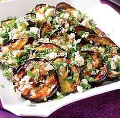 grilled eggplant with garlic-cumin vinaigrette, feta & herbs
