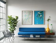 windows modern MCM living room concrete color art Japanese Trash masculine design inspiration