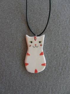 Ceramic Cat Necklace, White,Red,Striped Cat,With Black Rubber Necklace,Ceramic Necklace,Cat Pendant,Children Jewelry,Handmade,Cat Jewelry