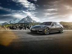 The lines of the Panamera Turbo S resemble those of the Panamera Turbo. References to the top model in the range are provided by the yellow brake calipers of the PCCB, as well as the logo on the rear, and the rear spoiler with paint finish in exterior colour. Learn more: http://link.porsche.com/panamera?pc=97048PINGA #Porsche #Panamera  Combined fuel consumption in accordance with EU 5: 10,7-3,1l/100 km; CO2-emission: 249-71 g/km
