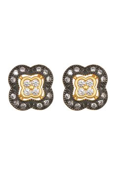 Two-Tone Pave CZ Clover Stud Earrings