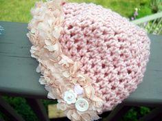 VintagePink Crocheted Baby Girl's Beanie Bonnette by laughingelf, $18.00  SOOO pretty! :-)