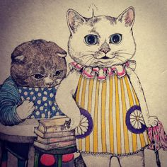 Me and my husband. Crazy Cat Lady, Crazy Cats, Cat Heaven, Japanese Artwork, Cute Cat Drawing, Fairytale Art, Animal Sketches, Animal Paintings, Artist Art