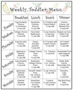 Sample Menu For One Year Old  Baby Schedule Babies And Parents