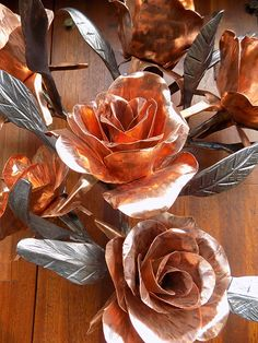 Forged Iron and Copper Roses. Blacksmith Sculptures Sheffield.