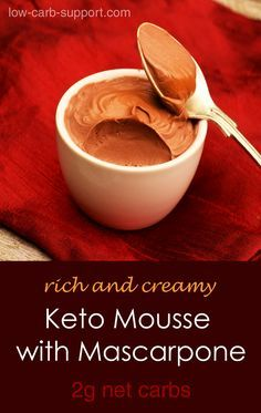 Keto Mascarpone Mousse, rich and creamy, with only 2g net carbs                                                                                                                                                                                 More