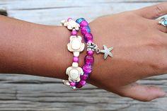 African Beaded Bracelets for women Bohemian Bracelets Beach Jewelry Star Fish Charm Bracelet Pink an Beach Bracelets, Bohemian Bracelets, Bohemian Necklace, African Beaded Bracelets, African Beads, Gypsy Jewelry, Beach Jewelry, Unique Jewelry, Sea Turtle Bracelet