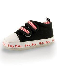 Look what I found on #zulily! Black & Red Stripe-Strap Sneaker by Twinkie #zulilyfinds