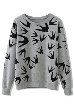 Swallow Print Sweater - New Arrivals - Retro, Indie and Unique Fashion