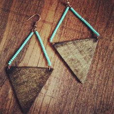 Wooden triangle and blue bead earrings by nidification on Etsy, $10.00