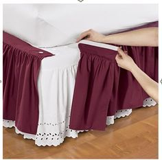 use velcro to attach bedskirtWonderskirt™ Solid Bed Skirts and Shams just the fringe part. no need for extra fabric. Dust Ruffle, Ruffles, Tela Shabby Chic, Living Room Arrangements, Ruffle Bedding, Sewing Box, Diy Bed, How To Make Bed, Bed Covers