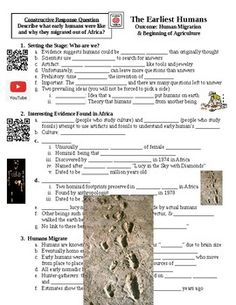 This handout accompanies the Human Migration & Beginning of Agriculture PowerPoint Lecture. This is for the students to fill out while they listen to the lecture.