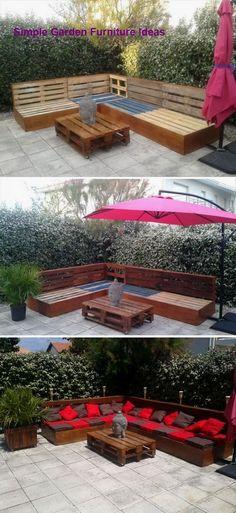 Balkon 29 Best Ideas For Diy Garden Furniture Pallet Backyards – Balkon ideen Backyard Seating, Garden Seating, Backyard Patio, Outdoor Seating, Terrace Garden, Pallet Seating, Outdoor Pallet, Bar Outdoor, Pallet Benches