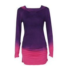 90455cb13fe36 Fashion Autumn 2018 Women T shirt Long Sleeve Hooded Gradient Color Tee  Tops Female Blue Purple t-shirt woman vetement femme