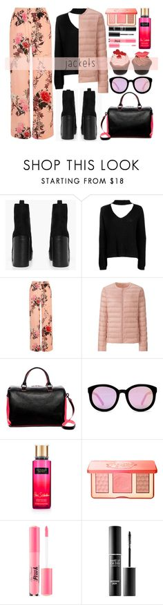 """""""Puffer Jackets"""" by alaria ❤ liked on Polyvore featuring Boohoo, River Island, Uniqlo, Deux Lux, AQS by Aquaswiss, Too Faced Cosmetics, MAKE UP FOR EVER and puffers"""