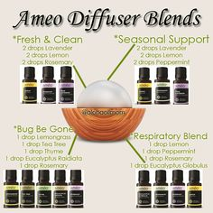 Some Ameo blends that you could use in your diffuser. Enjoy! Order this line of essential oils at eanderson.myameo.com