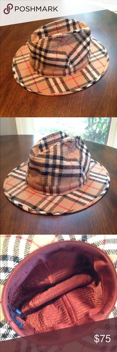 100% wool Burberrys of London Panama hat 100% wool Burberrys of London Panama hat. Wide, flat brim. Classic nova check pattern. Needs some love/reshaping. Burberry Accessories Hats