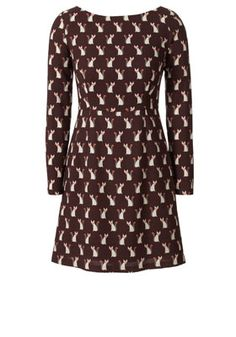 Cute as a Fox Wool Crepe Fitted Dress Aubergine Orla Kiely AW12