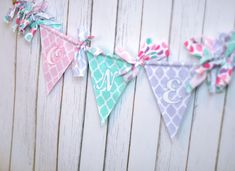 READY TO SHIP - Pink, Aqua, Turquoise, Lavender, Purple Shabby Chic Rag Flag Fabric High Chair Banner Bunting, Party Decor - Birthday Cake Smash Decor in Pink, Aqua, Lavender Quatrefoils