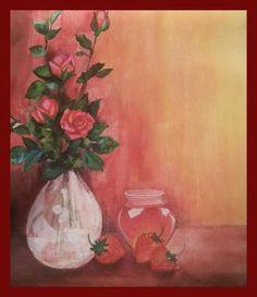 original #painting #acrylic NFAC-RED-no frame #IllustrationArt