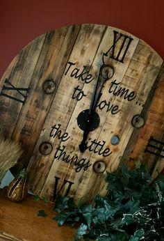 "35"" wood spool clock"