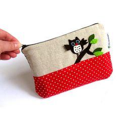 Wristlet cosmetic bag purse wallet clutch felt owl leaf bough applique linen polka dotted cotton