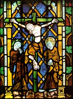 Stained glass painting of the crucifixion of Christ