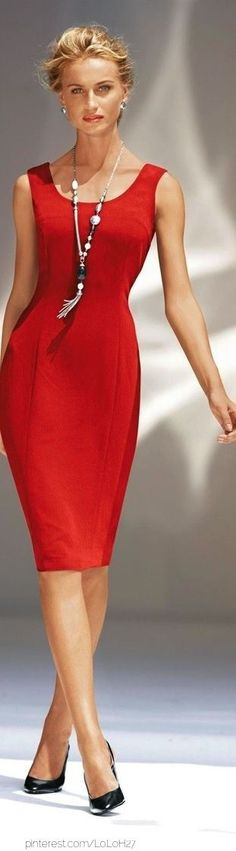 little red dress would be pretty with my long baroque freshwater pearls...simple and elegant