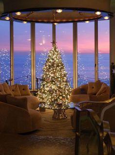 Ocean View Window Living Room - My dream modern Luxury Christmas Decor, Christmas Room, Christmas Makes, Cozy Christmas, Christmas Holidays, Christmas Decorations, Holiday Decor, Xmas, Winter Home Decor