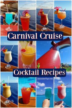 Amazing Carnival Cruise Cocktail and Drink recipes you can make at home! Including the Alchemy Bar, Pool Bar, martinis, tropical cocktails and more! Pool Drinks, Bar Drinks, Cocktail Drinks, Yummy Drinks, Cocktail Recipes, Alcoholic Drinks, Cocktails, Drinks Alcohol, Beverages