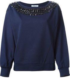 Blumarine rhinestone embellished sweatshirt on shopstyle.com