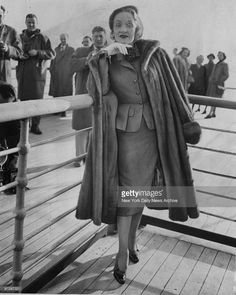 Marlene Dietrich arrives in New York aboard the Queen Elizabeth after making a film in Europe.