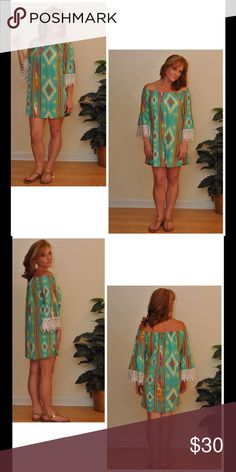 Bid! Cute Aztec Lace Sleeve Tunic/Dress! NWT! This super cute Tunic can also be worn as a dress (on shorter statutes). Elastic neckline allows this piece to be worn On & Off shoulders! Features Gorgeous Lace Bell Sleeves & Colorful Aztec design that pops on the Dark Mint background! Free and comfortable feel! Made of 97% Polyester, 3% Spandex! NWT! Tops Tunics