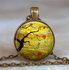 Apple Tree pendant charm (Listing 37)  This gorgeous piece of post-impressionism was done by Paul Ranson, an avant-garde Parisian artist, 1864-1909. Interested in mysticism and Buddhism, Ranson was influenced by the Art Nouveau movement, as well as Japanese prints. In addition to painting he also did stained glass and tapestry designs. At checkout, you can choose between pendant only, pendant with chain, or key chain with swivel hook (see picture 2 above).  CHAIN OPTIONS: The pretty little…