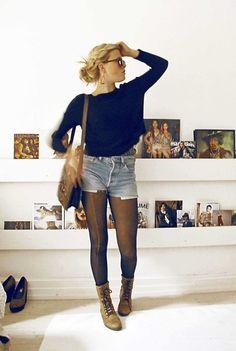 Levi's Beloved Levis Shorts, Beloved Leather Shoes, Beloved Vintage Bag, Beloved Knitted Sweater  https://www.instagram.com/qwertellen/ http://lookbook.nu/ellenhallstrom