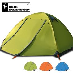 51.40$  Buy here - http://alik1o.worldwells.pw/go.php?t=32482492012 - 2016 FlyTop 2 layer 2 door 3 person aluminum pole 4 season anti heavy rain fishing hiking party park family outdoor camping tent