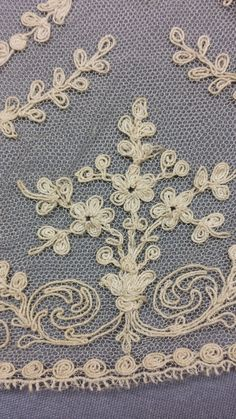 Embroidered tulle lace from the over-dress. Shabby Chic Curtains, Roaring 20s, Tulle Lace, Embroidery, Rugs, Home Decor, Totes, Farmhouse Rugs, Needlepoint
