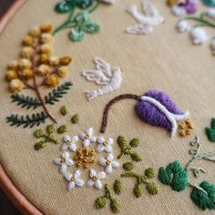 Garden Flowers & White Doves in Freestyle Embroidery .....
