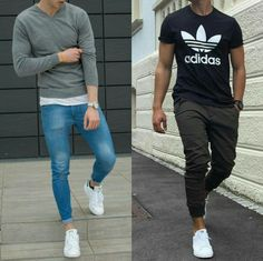 Left or Right? Style by: & Whatcha say or ? Leave a comment Swag Outfits Men, Stylish Mens Outfits, Stylish Boys, Casual Outfits, Men Casual, Fashion Outfits, Men Street Look, Mens Trends, Men Style Tips