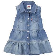 Levi's - Sleeveless stone-washed bl e jean dess - 64894 Baby Girl Dresses, Baby Dress, Little Girl Fashion, Kids Fashion, Blue Jean Dress, Kids Frocks Design, Baby Jeans, Frocks For Girls, Toddler Dress