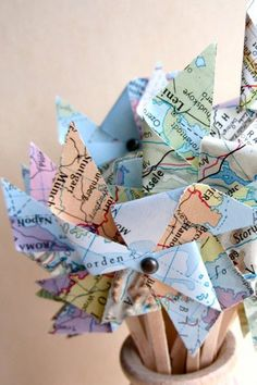 Vintage Map Pinwheels, vintage wedding, 24 two inch pinwheels, unique place card, cupcake toppers Wedding Themes, Wedding Decorations, Map Wedding, Wedding Ideas, Pinwheel Wedding, Going Away Parties, Travel Party, Travel Themes, Pinwheels