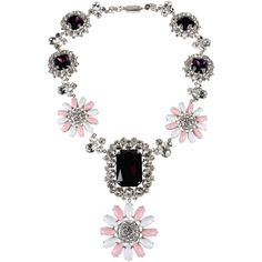 Miu Miu Necklace ($1,015) ❤ liked on Polyvore featuring jewelry, necklaces, pink, rhinestone choker necklace, pink necklace, pink rhinestone necklace, miu miu and rhinestone choker