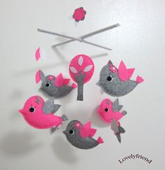 Baby Crib Mobile - Baby Mobile - Felt Mobile - Nursery mobile - Owl And Bird Theme (Custom Color Available)