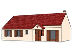 Modèle PC-49  Pavillon plain-pied comprenant cuisine ouverte sur le séjour, hall, salle de bains, WC et 4 chambres.  Surface Habitable : 100,41m²