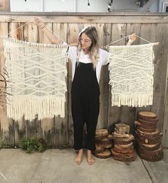 This wavy style wall hanging is modern in its design yet made using traditional macrame techniques. It is handmade with natural 100% cotton rope and string and hangs from a beautiful piece of California Coast drift wood. This piece is available in three different sizes; large, medium