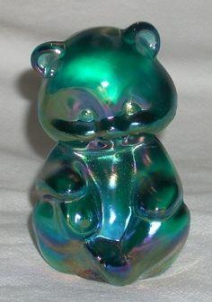 Fenton Teal Marigold Bear, 1988 - Fenton