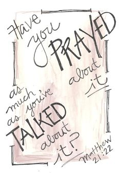 Bible Verse Pray More Talk Less Matthew Illustrated Watercolor Print